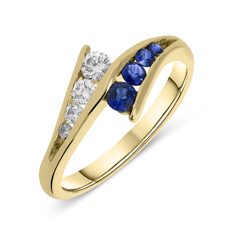 18ct Yellow Gold Sapphire Diamond Cluster Ring