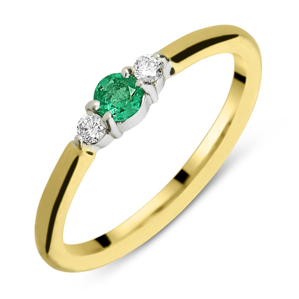 18ct Yellow Gold Emerald Diamond Trilogy Ring