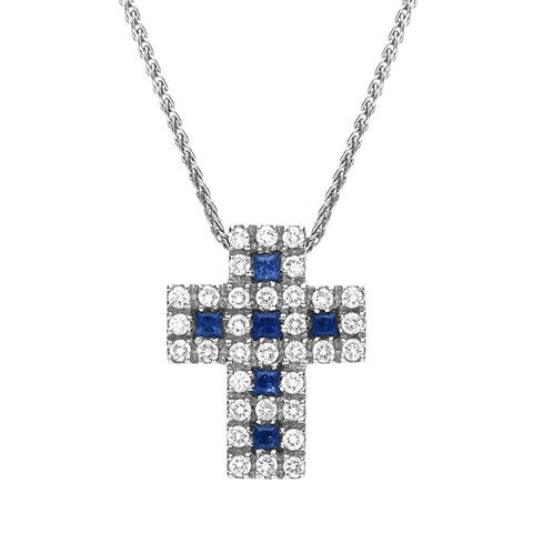 18ct White Gold Sapphire and Diamond Cross Necklace