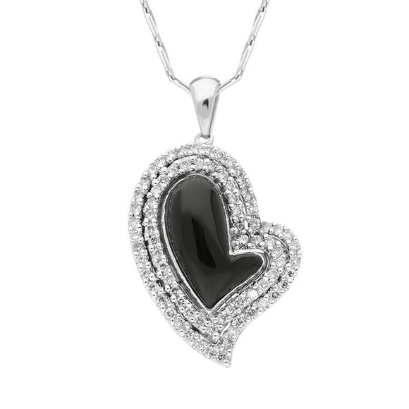 00027087 W Hamond 18ct White Gold Whitby Jet 0.49ct Diamond Curved Heart Necklace, P1340