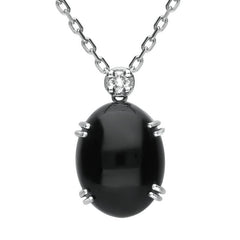 18ct White Gold Whitby Jet and Diamond Oval Necklace