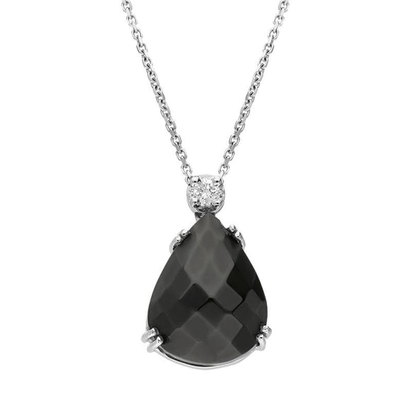 00027173 18ct White Gold Whitby Jet Diamond Faceted Small Pear Necklace PUNQ0000133