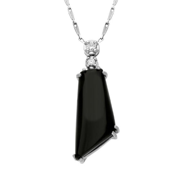 00027199 18ct White Gold Whitby Jet 0.07ct Diamond Abstract Shaped Necklace, SH2JET_DI12