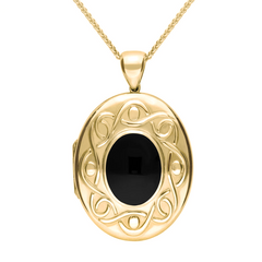 18ct Yellow Gold Whitby Jet Large Celtic Oval Locket