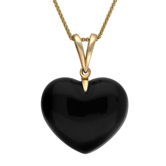 00032910 W Hamond 9ct Yellow Gold Whitby Jet Unique Carved Heart Split Bale Necklace. PUNQ00022203