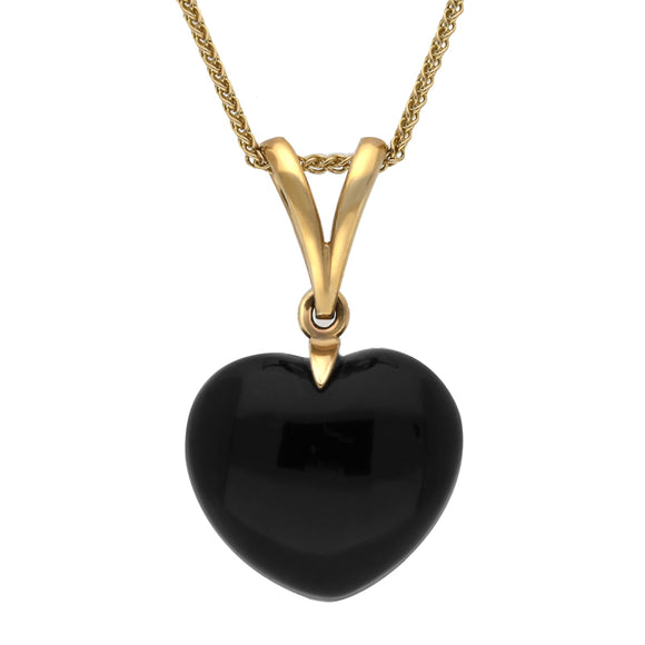 00032925 W Hamond 9ct Yellow Gold Whitby Jet Unique Small Carved Heart Split Bale Necklace. PUNQ0002507
