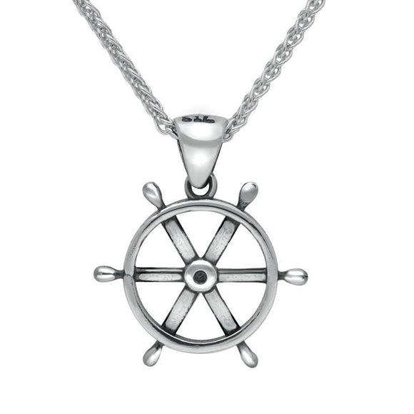 00038832 W Hamond Sterling Silver Regatta Ships Wheel Necklace, P1947