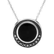 Sterling Silver Whitby Jet Marcasite Round Framed Necklace