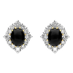 18ct Yellow White Gold Whitby Jet and Diamond Cluster Claw Set Stud Earrings