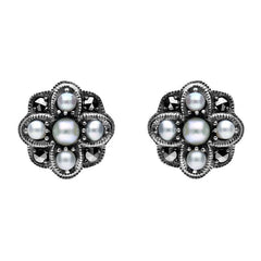 Sterling Silver Pearl and Marcasite Four Petal Flower Stud Earrings