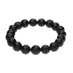 Whitby Jet 10mm Solid Faceted Bead Elasticated Bracelet