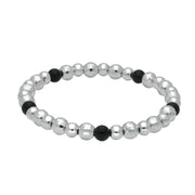 00087700 W Hamond Sterling Silver Whitby Jet 5 Stone Mirror Ball Elasticated Bracelet, B808