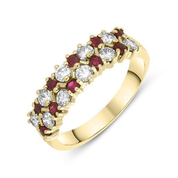 00101066 W Hamond 18ct Yellow Gold Two Row Ruby and Diamond Ring, PJW226