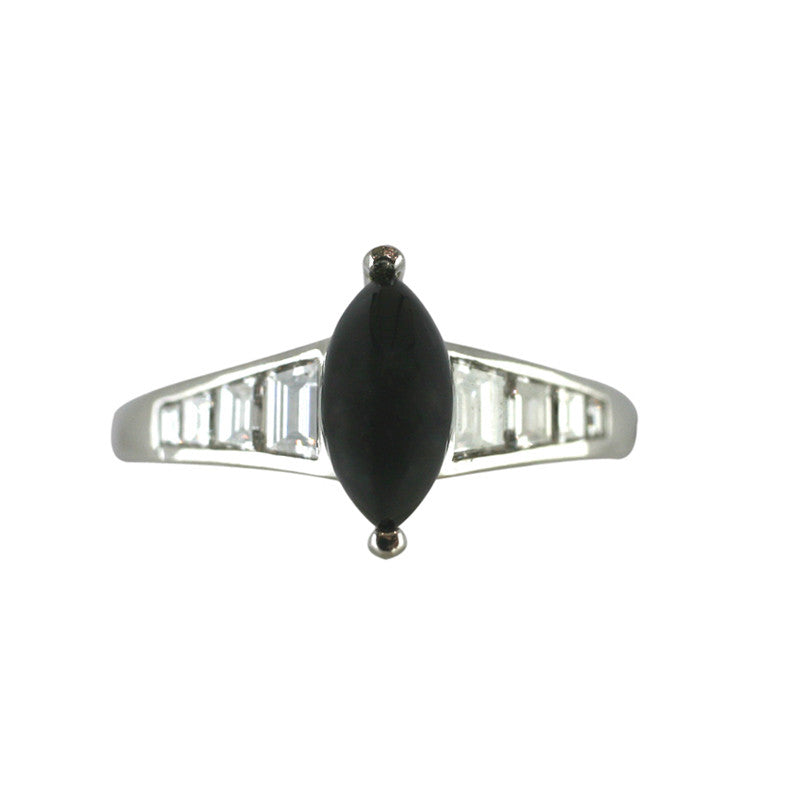 18ct White Gold Whitby Jet 0.79ct Diamond Ring