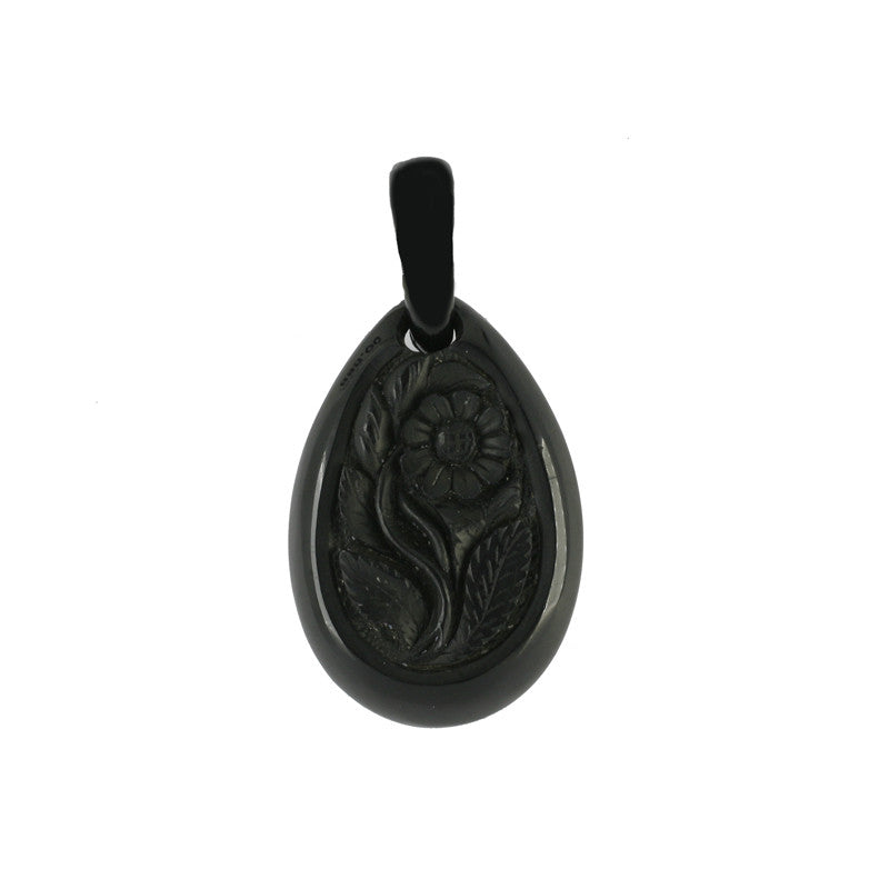 Whitby Jet Antique Carved Pear Rose Pendant