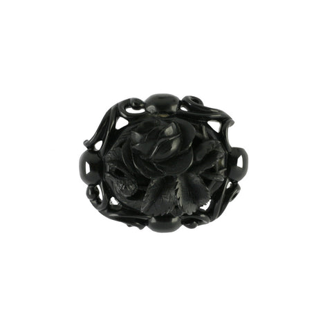 Antique Whitby Jet Carved Oval Open Flower Brooch