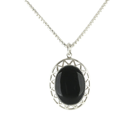 Sterling Silver Whitby Jet Oval Open Triangle Framed Necklace