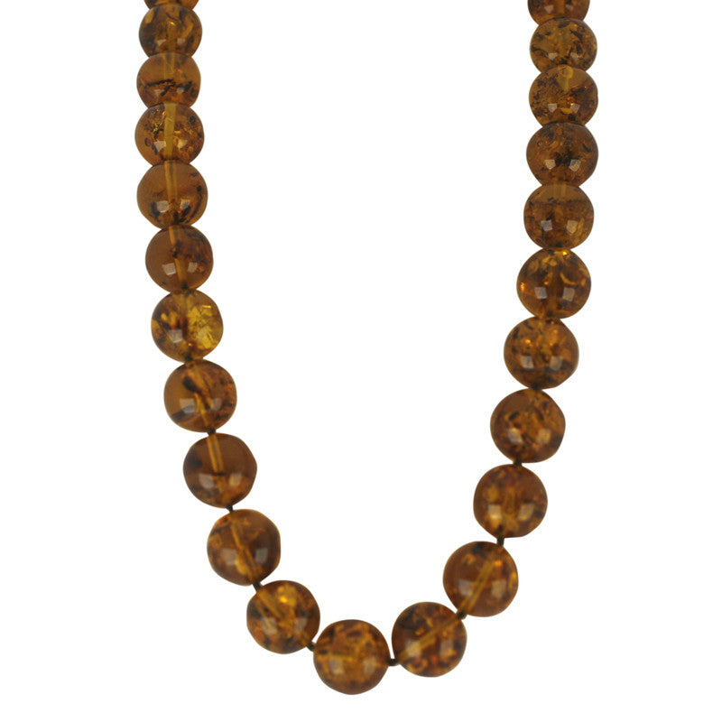 Necklace Amber Round Uniform Smooth Beaded