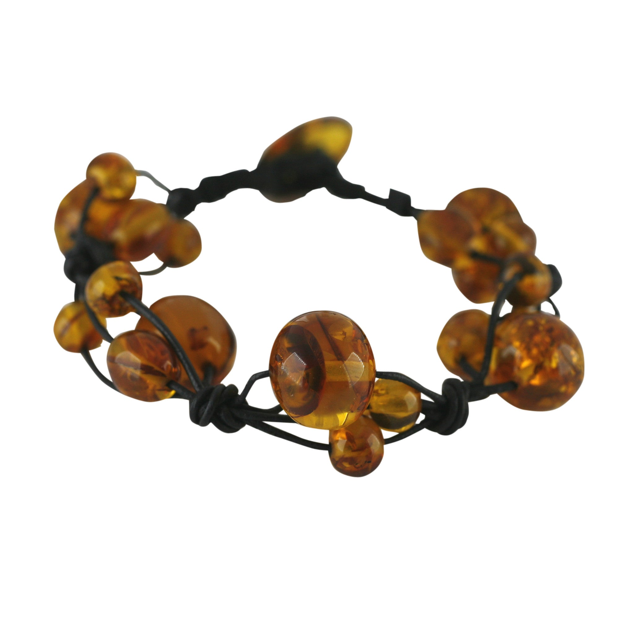 Amber and Leather Entwined Bobble Bead Bracelet