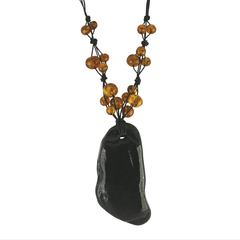 Whitby Jet and Amber Unique Entwined Beaded Cord Necklace