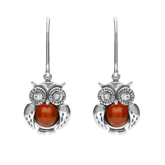 Sterling Silver Amber Owl Drop Earrings