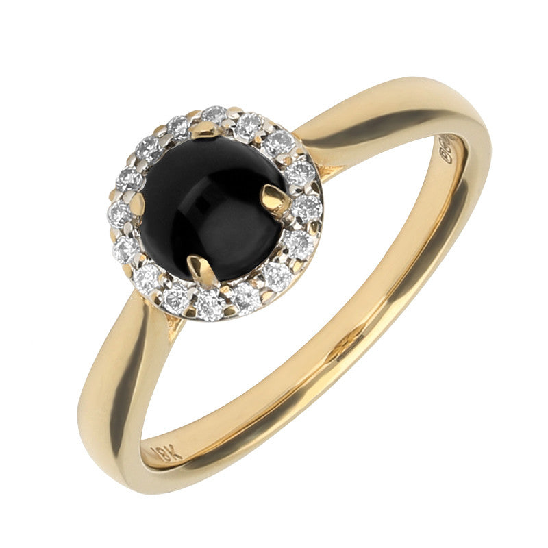 18ct Yellow Gold And Whitby Jet Diamond Round Cluster Ring