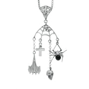 00128684 W Hamond Silver and Whitby Jet Gothic Charms with Web Bale Necklace, PUNQ0004624.