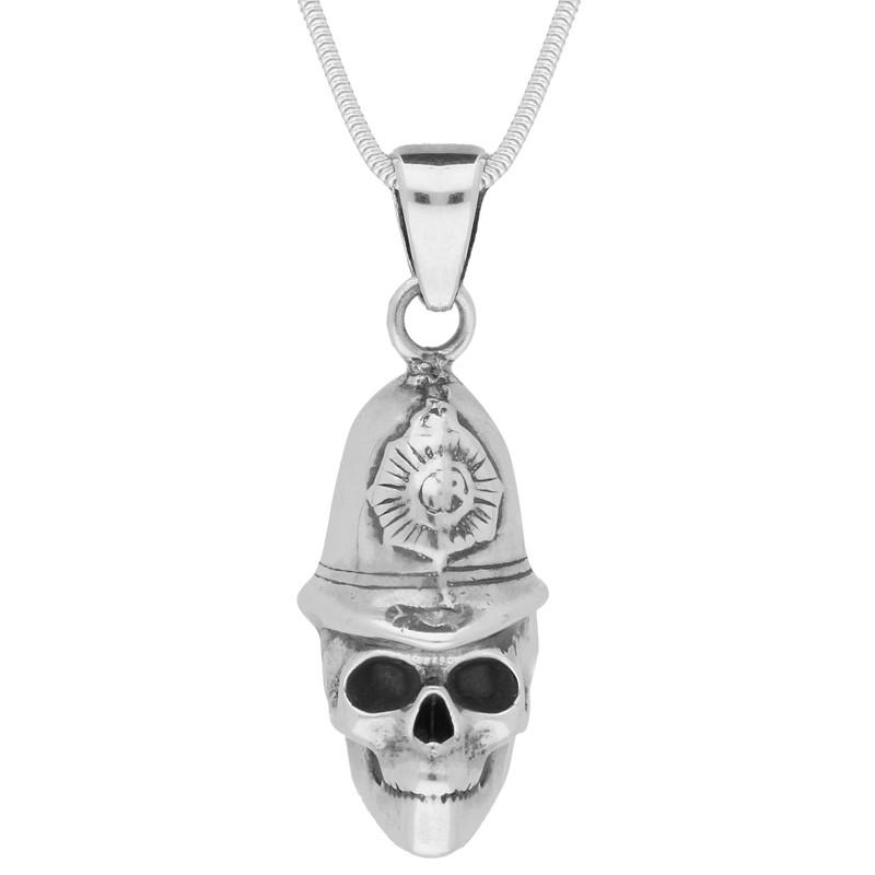Sterling Silver Medium Skull With Policeman's Helmet Necklace