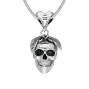 00128688 W Hamond Silver Butterfly Skull With Heart Bale Necklace, PUNQ0004628.