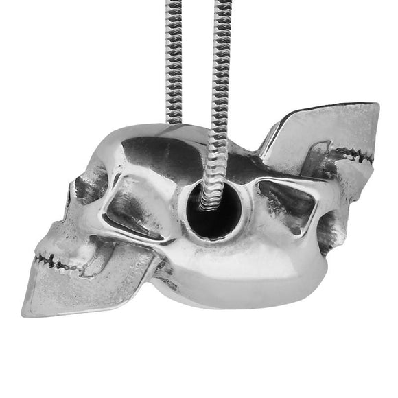 00128699 W Hamond Silver Joined Rotating Skulls Necklace, PUNQ0004636.