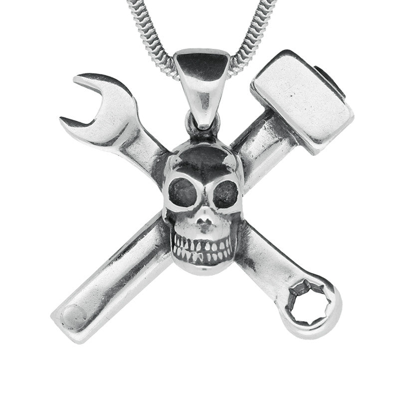 Necklace Silver Skull With Hammer And Spanner