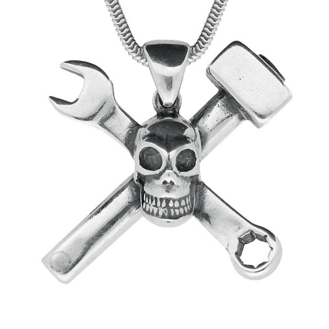 Sterling Silver Skull With Hammer and Spanner Necklace