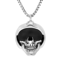 Sterling Silver and Whitby Jet Skull With Helmet and Visor Necklace