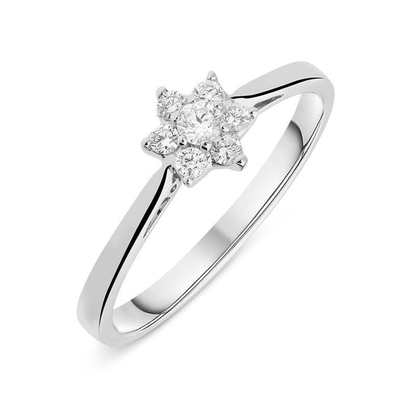 00143548 W Hamond 18ct White Gold 0.19ct Diamond Brilliant Cut Cluster Flower Ring. R1036.