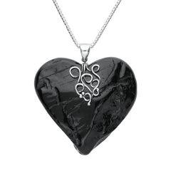 Sterling Silver Whitby Jet Rough Cut Heart Swirl Centre Necklace
