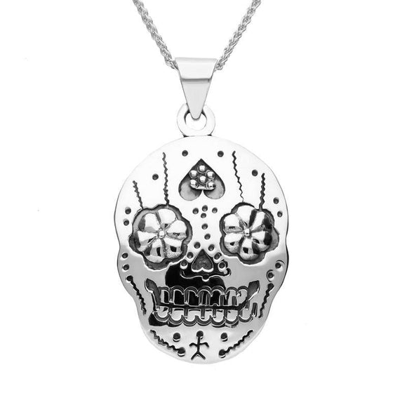 Sterling Silver Day of the Dead Skull Necklace
