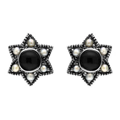 Sterling Silver Whitby Jet and Pearl Six Point Star Stud Earrings