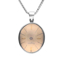 Sterling Silver Rose Quartz Alice In Wonderland Domed Oval Clock Face Necklace