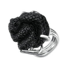 Sterling Silver Whitby Jet Unique Twisted Snake Ring