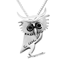 00159720 W Hamond Sterling Silver Whitby Jet Small Three Dimensional Owl Necklace, P3303C.
