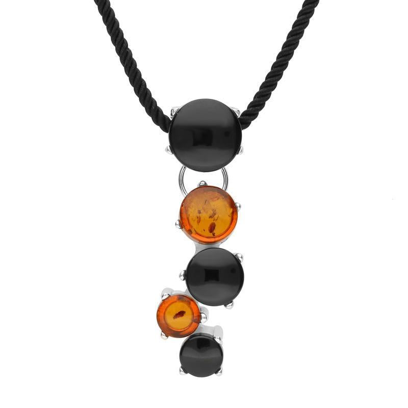 Sterling Silver Whitby Jet and Amber Five Stone Graduated Cascade Necklace