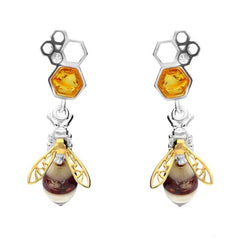 9ct Yellow Gold Sterling Silver Amber Bee and Honeycomb Drop Earrings