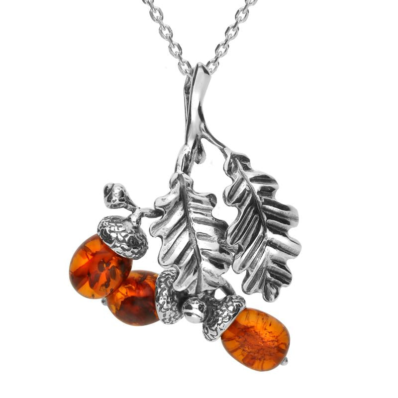 Sterling Silver Amber Acorns and Leaves Necklace