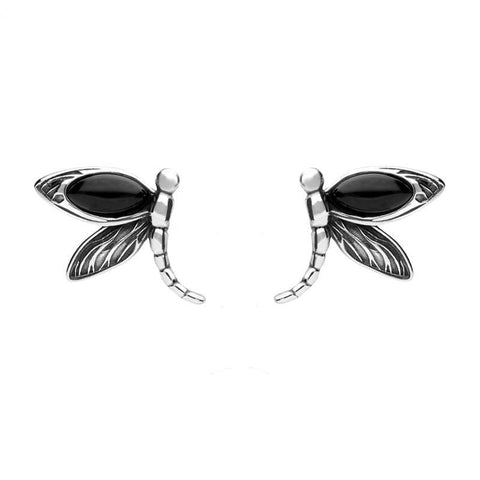 Sterling Silver Whitby Jet Dragonfly Stud Earrings