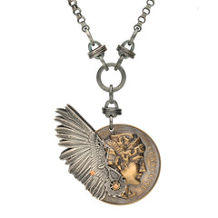 Rewind Winged French Coin Necklace