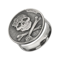 Rewind Skull and Bones Coin Ring