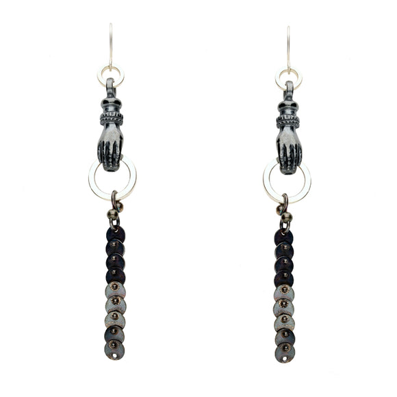 00167779 Rewind Hand with Hoop and Disc Drop Hook Earrings, E2441.