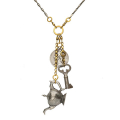 Rewind Teapot Coin and Key Charm Necklace