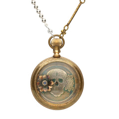 Rewind Skull Flower Pocket Watch Necklace