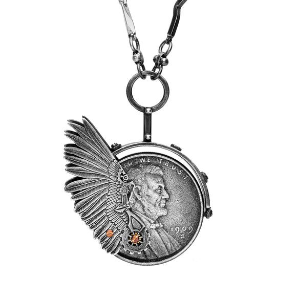 Rewind Winged Lincoln Coin Necklace NUNQ0001460